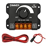 InduSKY Upgraded LED Dimmer PWM DC 12V-24V 30A Lighting Dimming Controller Single Channel + 5M 22AWG Extension Cable for...
