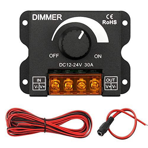 InduSKY Upgraded LED Dimmer PWM DC 12V-24V 30A Lighting Dimming Controller Single Channel + 5M 22AWG Extension Cable for Led Strips 3528 5050 Single Color + DC 12V Plugs Female Connector