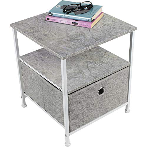 Sorbus Nightstand 1-Drawer Shelf Storage- Bedside Furniture & Accent End Table Chest for Home, Bedroom, Office, College Dorm, Steel Frame, Wood Top, Easy Pull Fabric Bins (Gray)