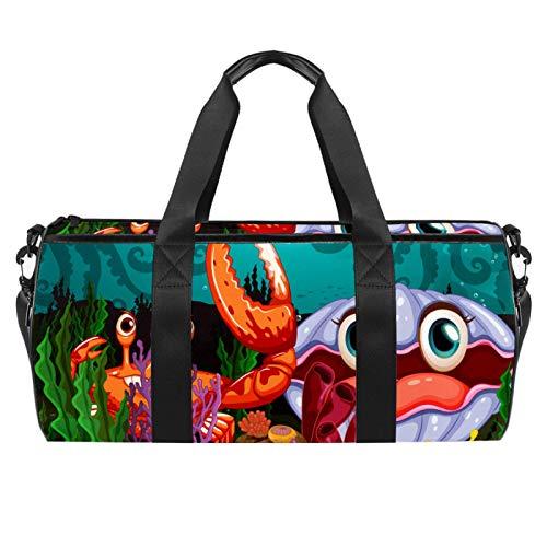 Bolsas de viaje para la playa, grandes deportes para gimnasio, durante la noche, lindos dibujos animados, un gran cangrejo y una almeja, bolsa de hombro con bolsillo seco húmedo