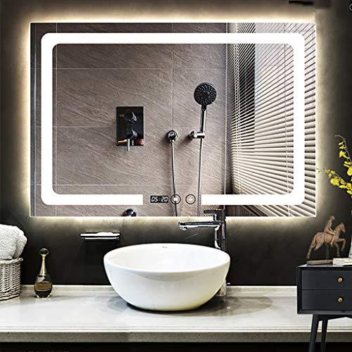 Verlichte led-badkamerspiegel met verwarmde demister-spiegelbekleding en explosiebestendige HD-zilverspiegel sierspiegel | 600 x 800 mm