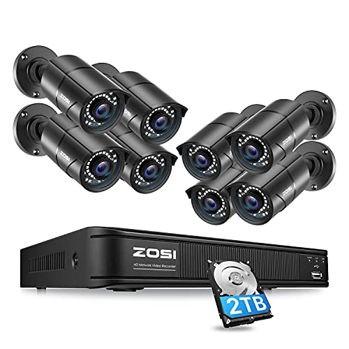 ZOSI 1080p H.265+ Home Security PoE Camera System Outdoor Indoor,8CH 5MP PoE NVR with Hard Drive 2TB and 8 x 1080p Surveillance Bullet IP Cameras with 120ft Night Vision, Mobile Access, Motion Alerts