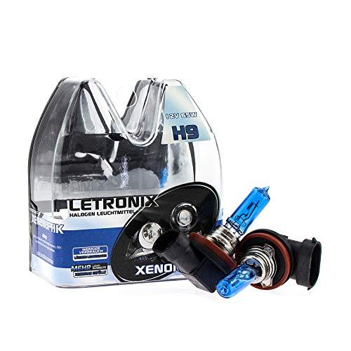 LETRONIX Halogen Auto Lampen H9 12V 8500K Kalt Weiß Xenon Optik Gas Ultra White Look Birnen Lampe Abblendlicht Nebelscheinwerfer Fernlicht Kurvenlicht Zulassung E-Prüfzeichen (LED Optik) (H9 65W)