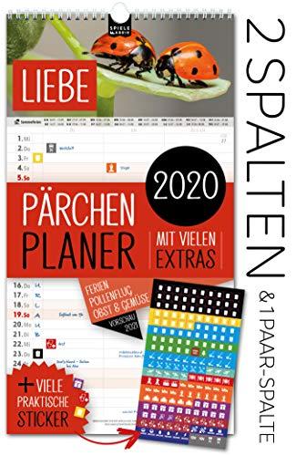 Partnerplaner 2020 – LIEBE | 3 Spalten für Paare/Pärchen | Wandkalender: 23x43cm | Extras: 180 praktische Sticker, Ferien 2020/21, Pollen-, Obst- & Gemüse-, Jahreskalender, Vorschau bis März 2021
