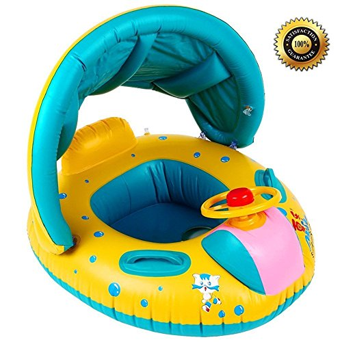 Baby Infant Swimming Pool Float with Canopy SKL Inflatable Swim Seat Float Boat Suitable for Age 6  36 Months Babies