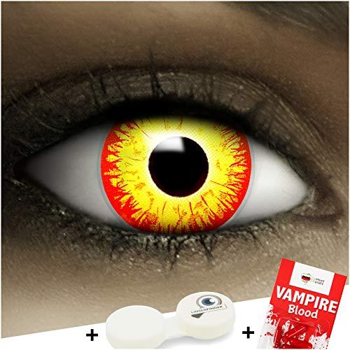 Farbige Kontaktlinsen ohne Stärke Horror Clown + Kunstblut Kapseln + Kontaktlinsenbehälter, weich ohne Sehstaerke in gelb und rot, 1 Paar Linsen (2 Stück)