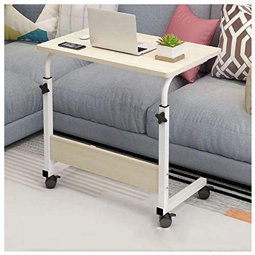 Side Table Overbed Table,Height Adjustable Electric Standing Desk,with Lockable Castors Rolling For Home Office Study Side Table (Color : White maple)