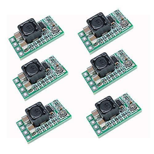 Aideepen 6 unidades Mini DC-DC 12-24 V a 5 V 3 A Módulo de fuente de alimentación descendente Convertidor de voltaje ajustable 1.8 V 2.5 V 3.3 V 5 V 9 V 12 V