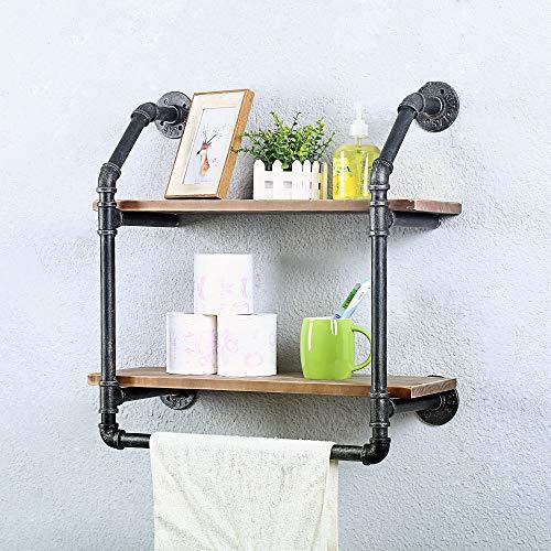 Estantería industrial para baño de pared de 2 niveles, rústico con toallero, estante de baño sobre inodoro, estante de hierro de 50 cm con barra de toalla, estantes de madera flotantes de metal