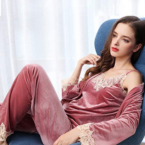 Pijama de Terciopelo pantalón de Manga Larga para Mujer Honda de Encaje de Tres Piezas Simple otoño e Invierno