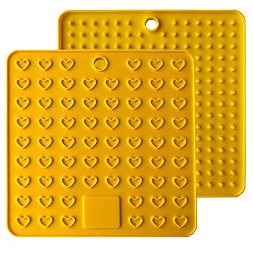 Baomasir 2 stücke Silikon Isoliermatte Platz Lebensmittelqualität Honeycomb Topflappen rutschfeste hitzebeständige Platzdeckchen für Pot Pan Bowl Cup,Gelb,