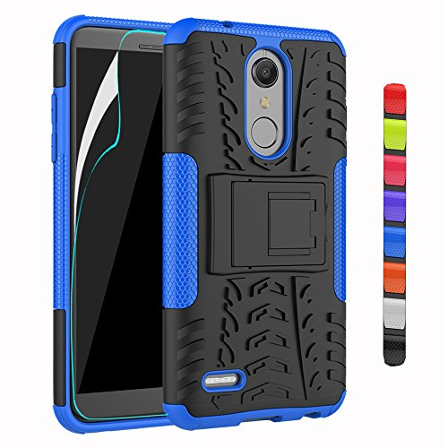 ARSUE for LG K30 Case,K10 2018 Case with HD Screen Protector Heavy Duty Dual Layer Durable Armor Hybrid Shockproof Protective Phone Cover Cases with Kickstand for LG K30 / X410 / LG Premier Pro,Blue