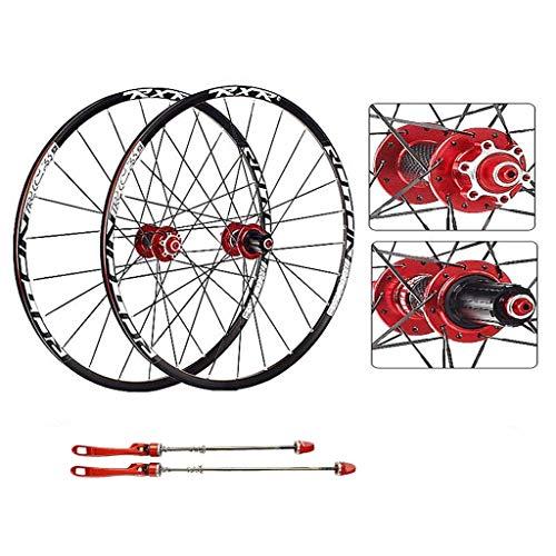AIFCX Bicicleta de Ruedas, 27.5 Pulgadas MTB de Doble Pared de Ciclismo Ruedas de liberación rápida Disco de Freno 24 Orificios del Borde Compatible Velocidad 8 9 10 11,Red-29inch