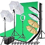 HAKUTATZ® Profi Fotostudio Set Hintergrundsystem mit 10 Zoll Ringlight Studiosets (HK-6)