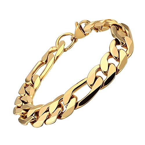 KnSam Acero inoxidable Hombre Pulsera 18K oro chapado en oro pulsera para hombres, Oro 21CM