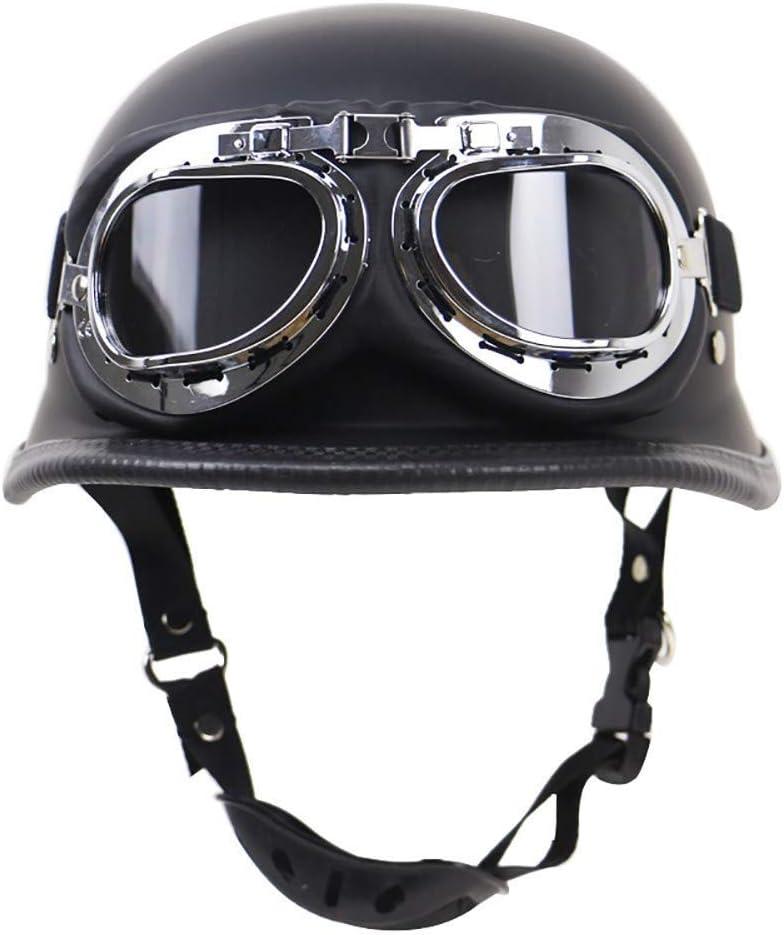 Guoyq Motorradhelm Mit Offenem Gesicht Retro Halbhelm Harley Lokomotivenhelm Schutzhelm Im Freien Dot Zulassung Mit Brille Für Männer Und Frauen Küche Haushalt