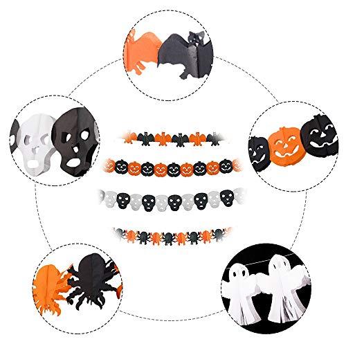 SouFace - Striscione decorativa per Halloween e feste di Halloween, ragno, Halloween, zucca, pipistrello, fantasma, scheletro per feste a tema horror