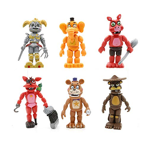 Jubasix Set of 6 pcs FNAF Game Character Action Figure Toy Gift for Kids
