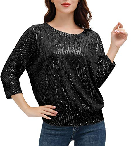 Plus Size Holiday Party Sparkle Sequin Top Short Sleeve Shimmer Glitter Tunic Tops L Black