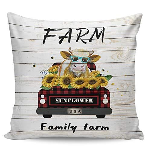 Scrummy Fundas de almohada de 40,64 x 40,64 cm, diseño de girasol, de madera de vaca, decorativa, para decoración del hogar