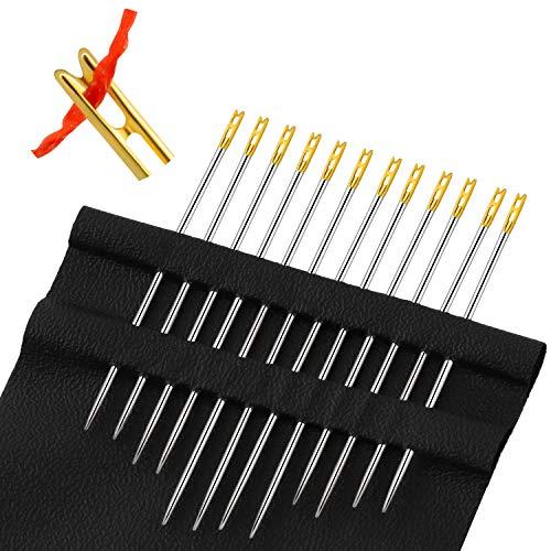 Agujas de Enhebrado Automático Agujas de Fácil de Enhebrar Agujas de Coser a Mano para Manualidades Accesorios de Costura (24 piezas)