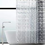 WELTRXE Duschvorhang Anti-Schimmel mit Gewicht Magnet unten, Transparent Quadratmuster Eva Wasserdicht Antibakteriell Vorhang für Dusche & Badewanne, 0.15mm 3D [183*183cm] mit 12 Duschvorhangringen