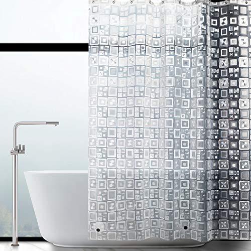 WELTRXE Duschvorhang Anti-Schimmel mit Magnet unten, Transparent Quadratmuster Eva Wasserdicht Antibakteriell Vorhang für Dusche & Badewanne, 0.15mm [183 * 183cm] 12 Duschvorhangringen Kinder