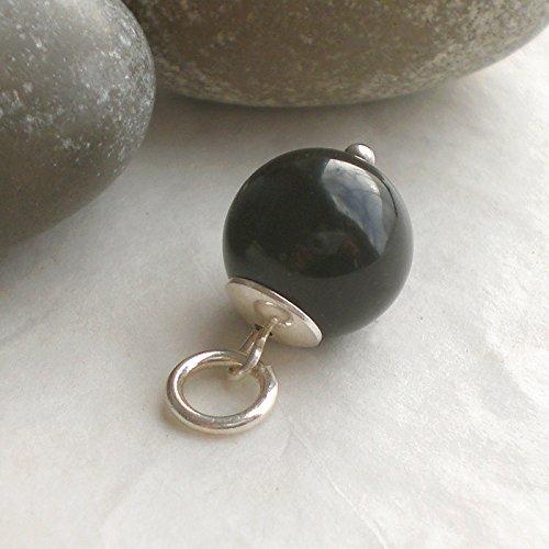 Schlichter Anhänger Onyx schwarz 925 Silber
