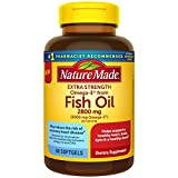 Nature Made Extra Strength Burp-Less Omega 3 Fish Oil 2800 mg, Helps Support a Healthy Heart, Brain, Eyes, and Mood, 60 Softgels