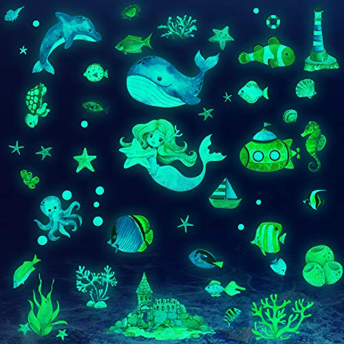Glow in The Dark Ocean Fish Wall Decals, Glowing Undersea Wall Decor Removable Ocean Wall Sticker...