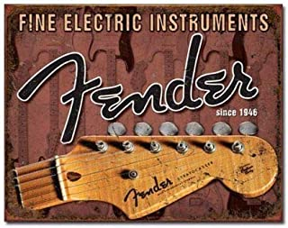 SRongmao Fine Electric Instruments Fender Guitar Distressed Retro Vintage Look Metal Tin Sign 8x12in