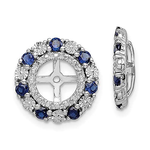 925 Sterling Silver Created Sapphire Earrings Jacket Birthstone September Fine Jewelry For Women Gifts For Her