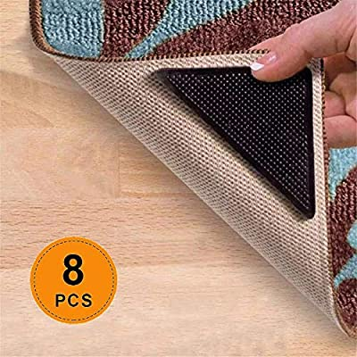 Rug Gripper - Reusable Carpet Anti Curling Non Slip Area Sticker Keeps Your Rug in Place and Makes Corners Flat Removable Washable Pad for Tile Floors, Carpets, Floor Mats, Wall, Black 8pcs