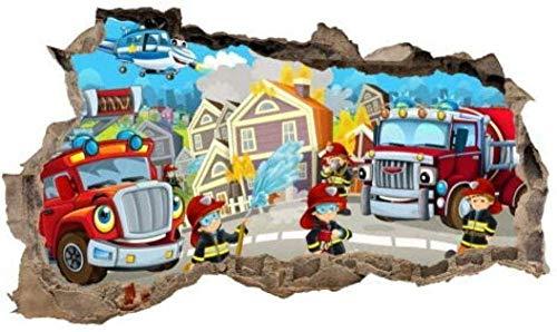 3D Adesivo da parete Adesivo murale adesivo murale buco nel muro adesivo vigili del fuoco adesivo per bambini foglio da salotto