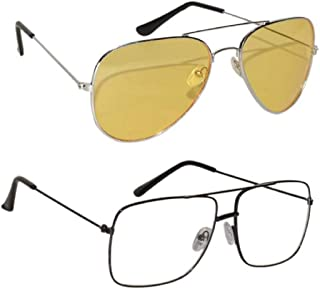 Peter Jones Combo of Transparent & Yellow Lenses Night Vision Driving Sunglasses (AV325Y-ST001B)