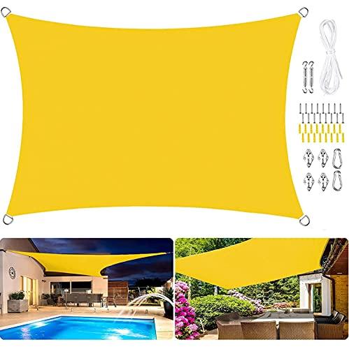 GUOGAI Toldo Parasol 6x6.5m Durable,Transpirabilidad, Toldo Vela IKEA Telas Lona Cubierta Protección Anti-UV 95% para Jardín Patio Terraza Balcón, Amarillo B