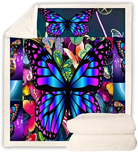 Colcha colorida con mariposa a presión sherpa manta sofá sofá tren viaje juvenil lino terciopelo felpa exceso techo 150 x 200 cm x 150 cm x 200 cm