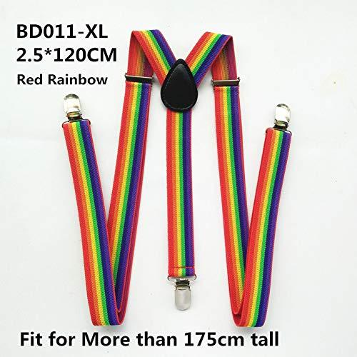 DYDONGWL Suspenders/mannen vrouwen jongens meisjes Suspenders Rood Wit Regenboog Kleurrijke Gestreepte Suspender Volwassene Baby Y-back Braces