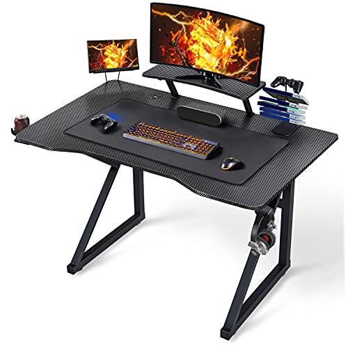 Yaheetech Scrivania Gaming Ergonomica, Scrivania Computer, Tavolo da Gioco per PC, Gambe a Forma K con Tappetino Ampio Mouse Supporto a Gancio per Cuffie, Porta Bicchieri Porta Tablet 111 X 71 x 96 CM