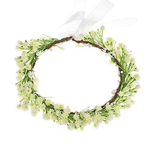 Love Sweety Babysbreath Headband Floral Garland Crown with Ribbon Photograph (Ivory)