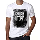 Hombre Camiseta Vintage T-Shirt Choose Utopia Blanco