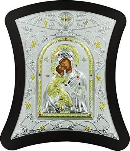Ferrari & Arrighetti Icono de la Virgen de Vladimir de Plata - 24 x 28