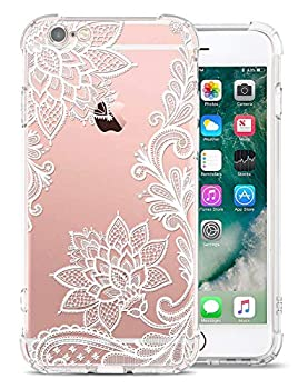 GREATRULY Floral Clear Pretty Phone Case for iPhone 6S / iPhone 6 Case for Women/Girls,Flower Design Transparent Soft TPU Shock Absorption Bumper Cushion Silicone Cover Shell,FL-S