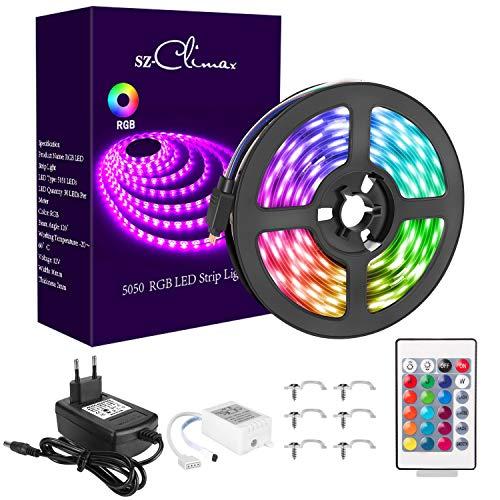 SZCLIMAX 5M 5050 RGB Kit de Tiras LED, Tira de Luz LED Flexible Multicolor con Control Remoto de 24 Teclas, Adaptador de Alimentación 12V, Luces LED Decoración para el Hogar,Navidad,Fiestas