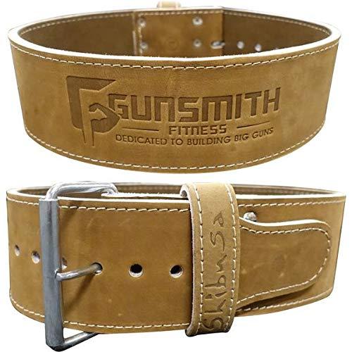 Gunsmith Fitness Cinturón de lastre Fabricado a Mano Premium 10cm de Ancho por 10mm de Grosor – Cinturón de Lastre Ajustable Altamente Resistente de Púa Simple en Cuero de Curtido Vegetal (S)