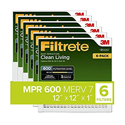 Filtrete 12x24x1, AC Furnace Air Filter, MPR 600, Clean Living Dust Reduction