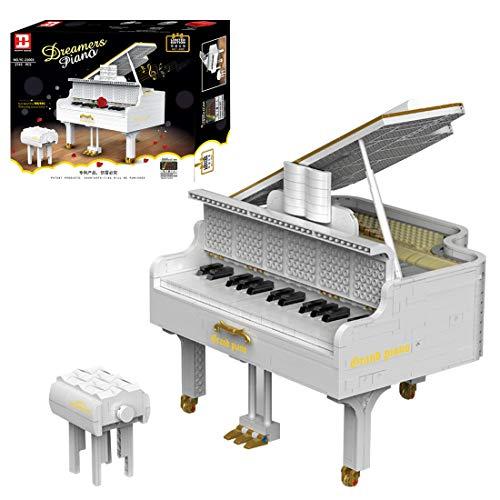 ReallyPow Klavier Konzertflügel Bauset für Erwachsene, App-Gesteuertes, Klavier mit Motor & funktionierenden Tasten, Piano Kompatibel mit Lego 21323 Klavier - 2745 Teile