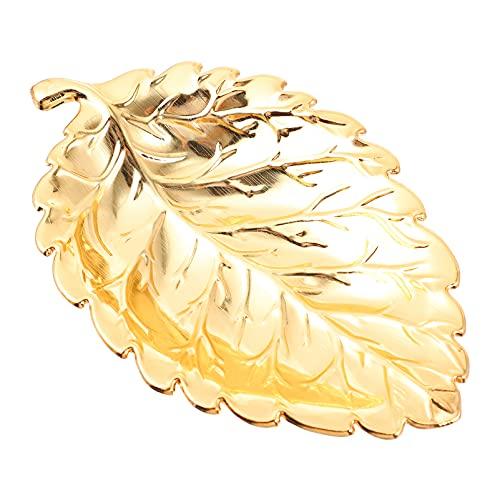 BESPORTBLE Pequeña Bandeja de Hoja de Oro Decorativa de Oro Collar Pulsera Soporte Bandeja Organizador para Boda Fiesta Mujer Chica Oro S