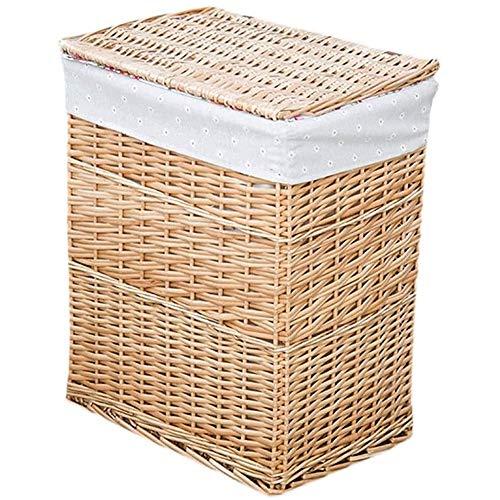 SHUSHI Premium Wicker with White Linning Storage Basket Trunk Chest Hamper with Lid, Storage Baskets, Home Bedroom Bathroom (Size : 44 * 32 * 56cm)