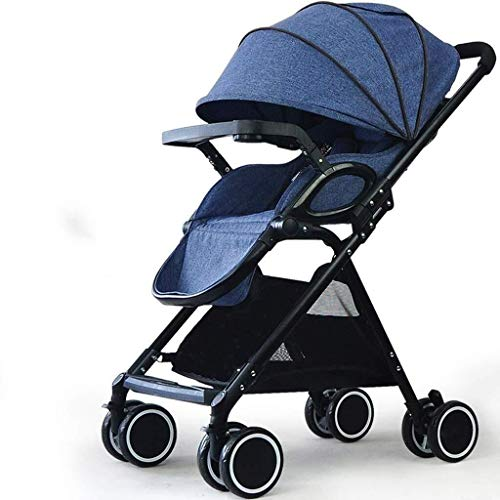 ZXCVB Kinderwagen Folding Buggy Leicht Infant kompakter Reise-Buggy, mit 5-Punkt-Gurt und High Capacity Basket (Color : Blue)